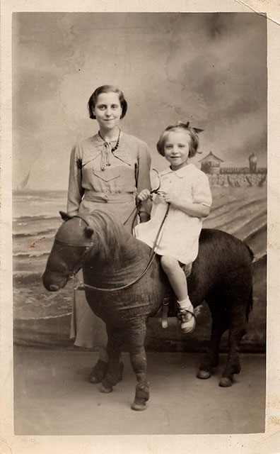 Photo taken in Robert McLellan's studio  -  Mother and Daughter and Stuffed Donkey