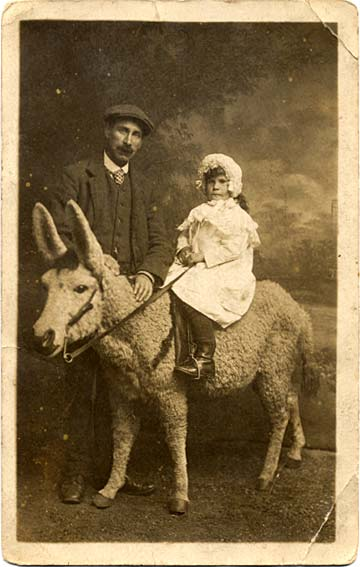 Postcard from Morrison's studio  -  Portrait with a donkey