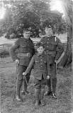 Postcard Portrait from Morrison's Studio, Portobello  -  Mascot and 2 Soldiers  -  which regiment?
