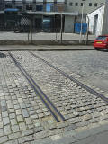 Railway line crossing the road -  Anderson Plce, Leith