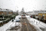 Looking to the west along Boswall Parkway in the snow, from the top deck of a No 19 bus