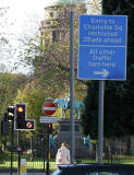 Road sign introduced into Edinburgh New Town in 2005 as part of the Central Edinburgh Traffic Management Scheme  -  George Street  -  Looking west towards Charlotte Square