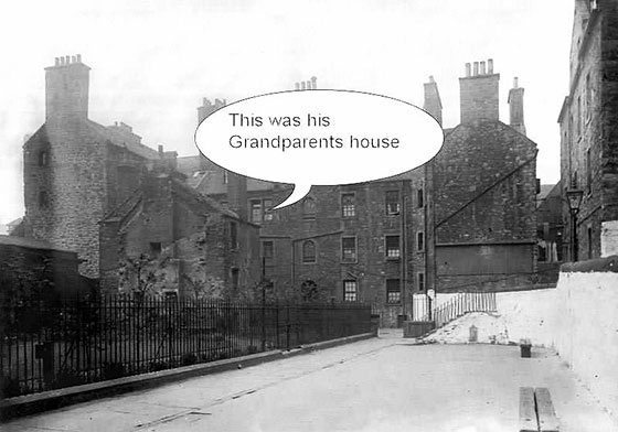 Old photo showing the location of Bob Lawson's Grandparents' House at Chessel'd Court, Canongate, Edinburgh