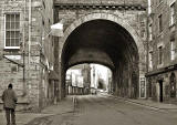 Looking to the west along Cowgate, and through one of the arches of South Bridge, towards the Grassmarket, 2004