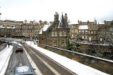 View from the top deck of a No 19 bus, following a snow storm  -  Looking to the south along Dean Bridge towards the centre of Edinburgh