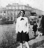 Al Love's Aunt Nan standing on the bridge at Deanhaugh Street, Stockbridge