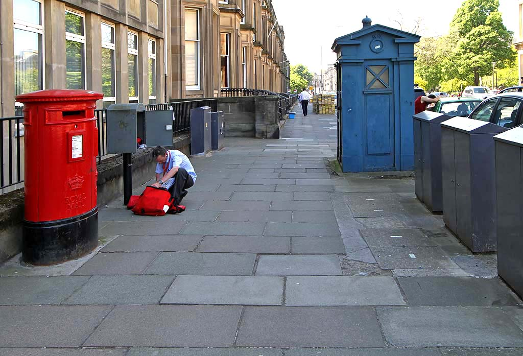 Drumsheugh Gardens  -  Pillar Box, Postman, and Police Box for sale  -  May 2012