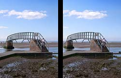 Stereo View of 'Bridge to Nowhere', Bellhaven Bay, Dunbar, East Lothian