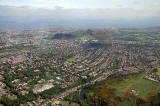 View to the NE from a helicopter  -  Blackford and Arthur's Seat, Edinurgh
