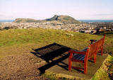 Bench on the top of Blackford Hill, and view towards Arthur Seat