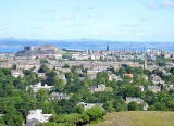 View to the north from Blackford Hill towards Edinburgh Castle, the Firth of Forth and Fife