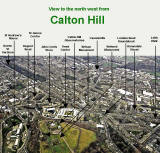 Aerial Photograph  -  Looking to the NW across Calton Hill  -  6 December 2003