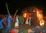 Performers pass through the Fire Arch on Calton Hill  -  April 30, 2008