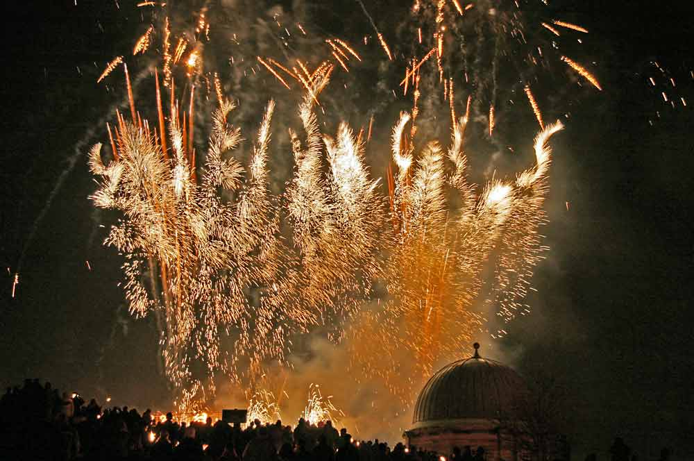 Fireworks on Calton Hill, following the torchlight Procession to mark the start of Edinburgh's New Year Celebrations  -  29 December 2005