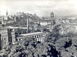 Photograph by Norward Inglis  -  View towards Edinburgh Castle and along Princes Street from Calton Hill  -  early 1950s
