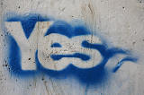 'Yes' message (remaining from the September 2014 Scottish Independenc Referendum campaigns) beside one of the bridges over the Water of Leith near Slateford, Edinburgh  -  October 2014