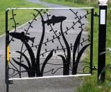 Artwork on a gate across the Union Canal, now used by cyclists and pedestrians  -  between Polwarth and Fountainbridge  -  October 2014
