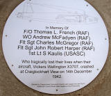 Memorial dedicated to the crew of the Wellington bomber that crashed at Craiglockhart on 4 December 1942