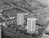 Aerial View of Craigmillar  - high rise flats under construction  -  1963