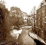 Looking SW along the Water of Leith from the bridge at the foot of Dean Path