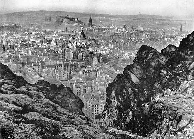 Looking down on Dumbiedykes and out towards Edinburgh Castle from Salisbury Crags  -  probably around 1940