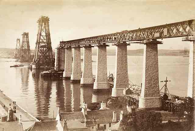 Photograph of the Forth Rail Bridge under construction in the 1880s  -  by John Patrick