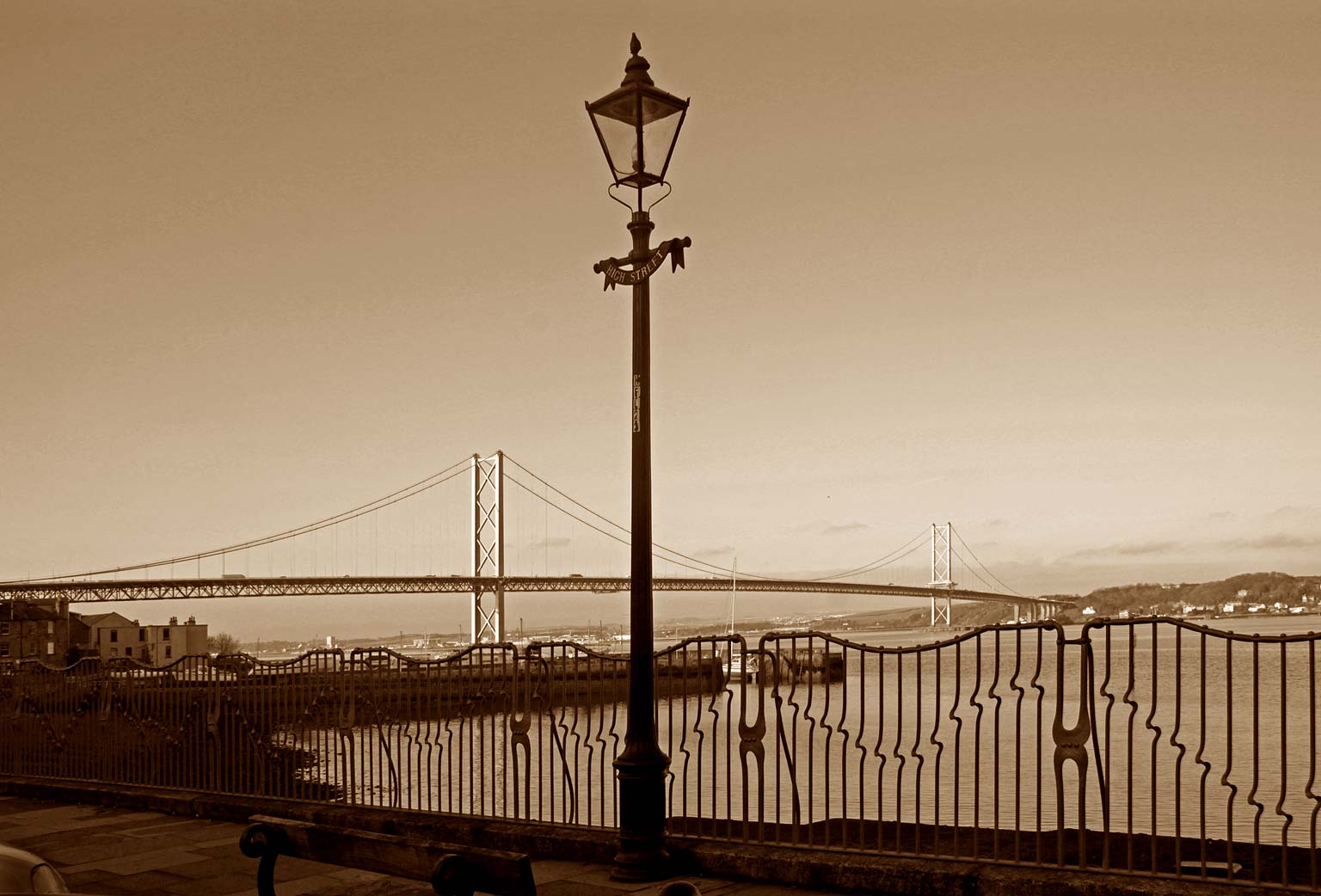 Lamp Post and Forth Road Bridge, from High Street, Queensferry