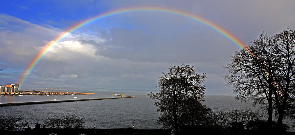 Rainbow over Granton Harbour and the Firth of Forth