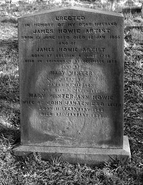 Detail from the gravestone of James Howie Junior  -  1820-1855