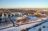 Looking North from The Radical Road in Holyrood Park to Our Dynamic Earth, The Scottish Parliament and The Palace of Holyrood