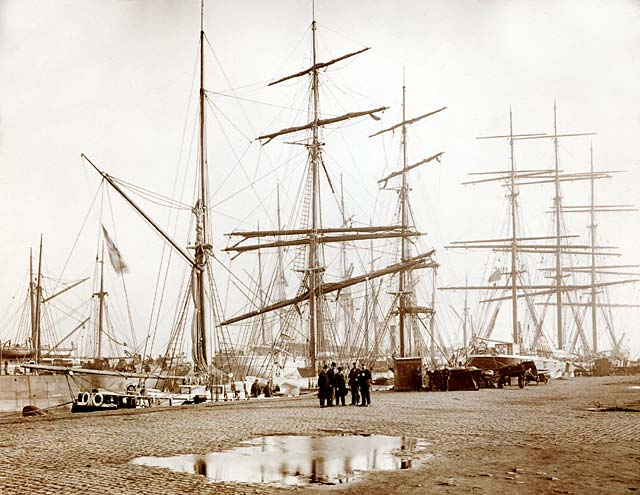 Unloading Vessels at Leith Docks  -  1906