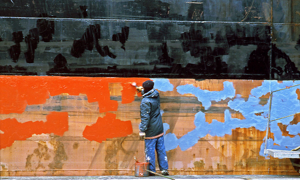 Bulk carrier, 'Ascanius' being painted at Leith Docks, 1989