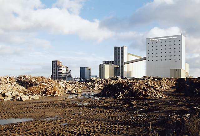 Caledonia Mill and Chancelot Mill  -  seen from the west in Leith Western Harbour  -   Photographed November 2004