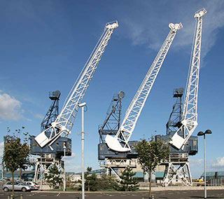 Three Cranes near the Casino at Leith Docks