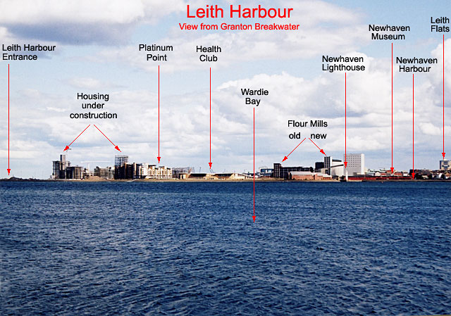 Leith Harbour from Granton Breakwater  -  with key