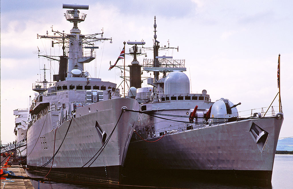 Leith Docks  -  HMS Battleaxe + what other ship?