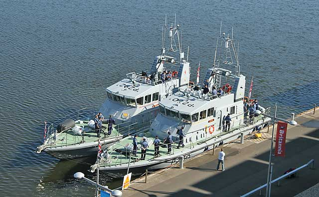Royal Navy Archer Class Patrol & Training Vessels moored beside Britannia at Leith Western Harbour