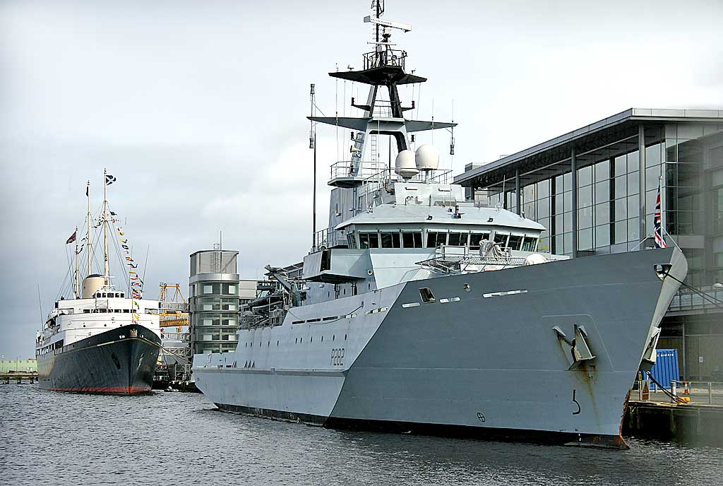 HMS Severn (P282) and Royal Yacht Britannia, moored beside Ocean Terminal in Leith Western Harbour
