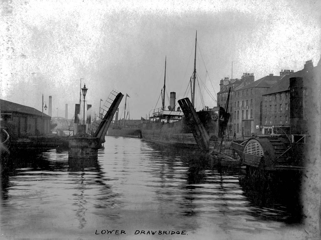 Lower Drawbridge over the Water of Leith at The Shore, Leith  -  Removed 1910