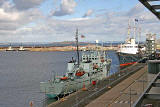 Tugs, Sulisker (ScottishFisheries Protection Vessel) and Royal Yacht Britannia at Leith Western Harbour  -  September 2005