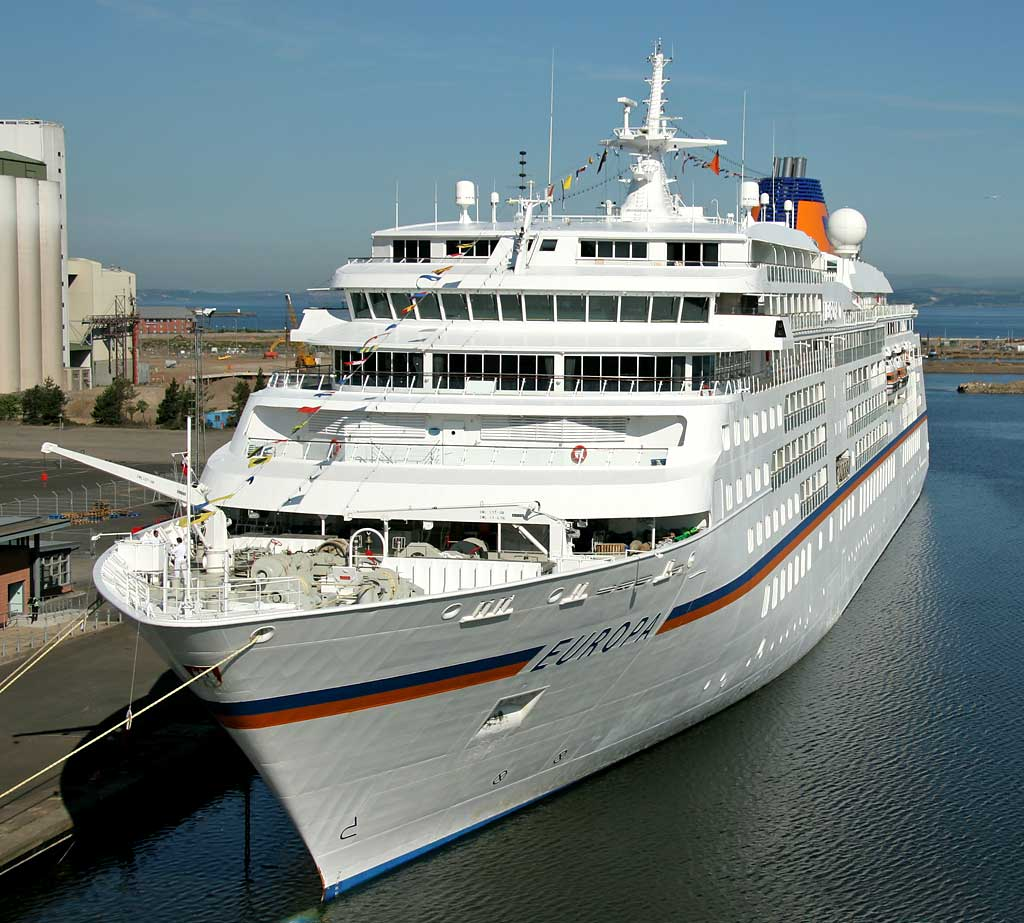 The cruise liner, Europa at Leith Western Harbour