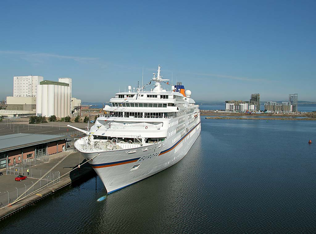 The cruise liner, Europa, at Leith Western Harbour