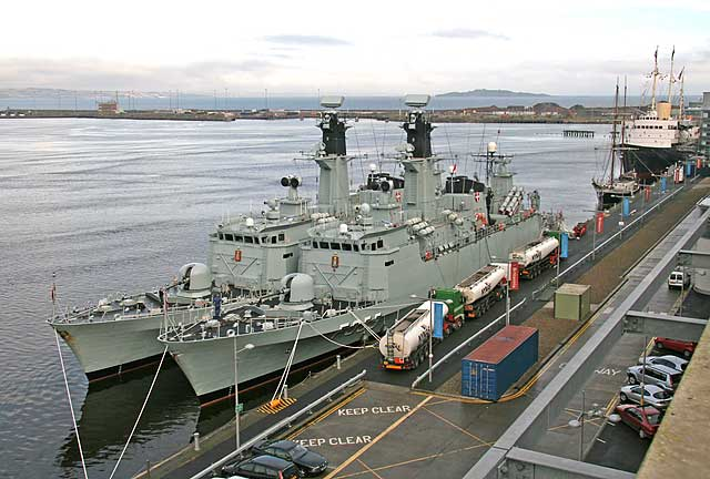 Danish Navy Niels Juel class corvettes, 'Olfert Fischer' and one other, moored beside Ocean Terminal at Leith Western Harbour