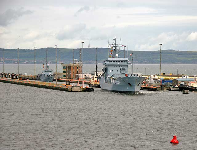 The German Naval Auxiliary Ship,' Rhein', entering Leith Docks from the Firth of Forth