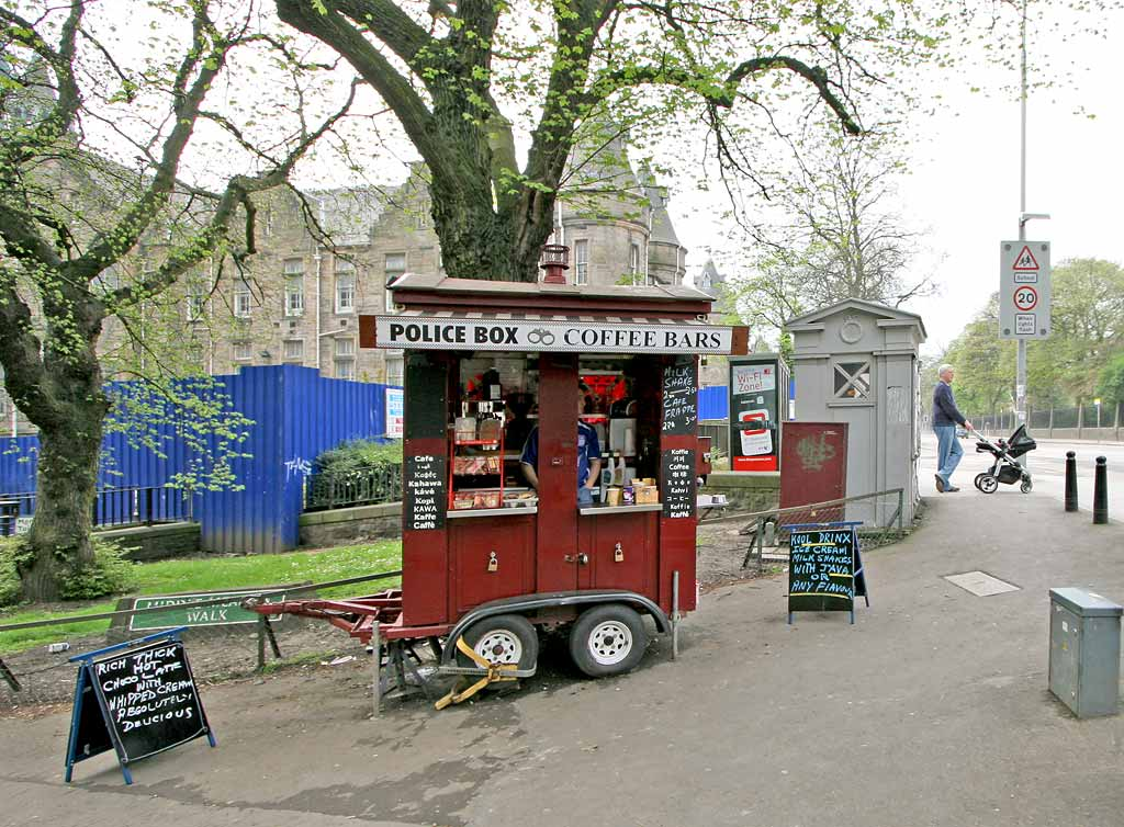 Coffee Bar and Police Box on the corner of Middle Meadow Walk and Lauriston Place