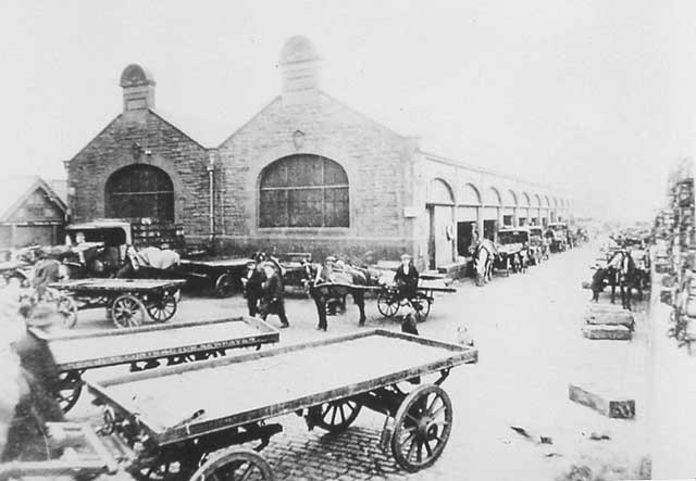 Newhaven Fishmarket with Horses and Carts