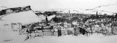 Part of a sketch  -  View from Calton Hill, looking to the south and South West towards Salisbury Crags in Holyrood Park, Canongate and Dumbiedykes housing