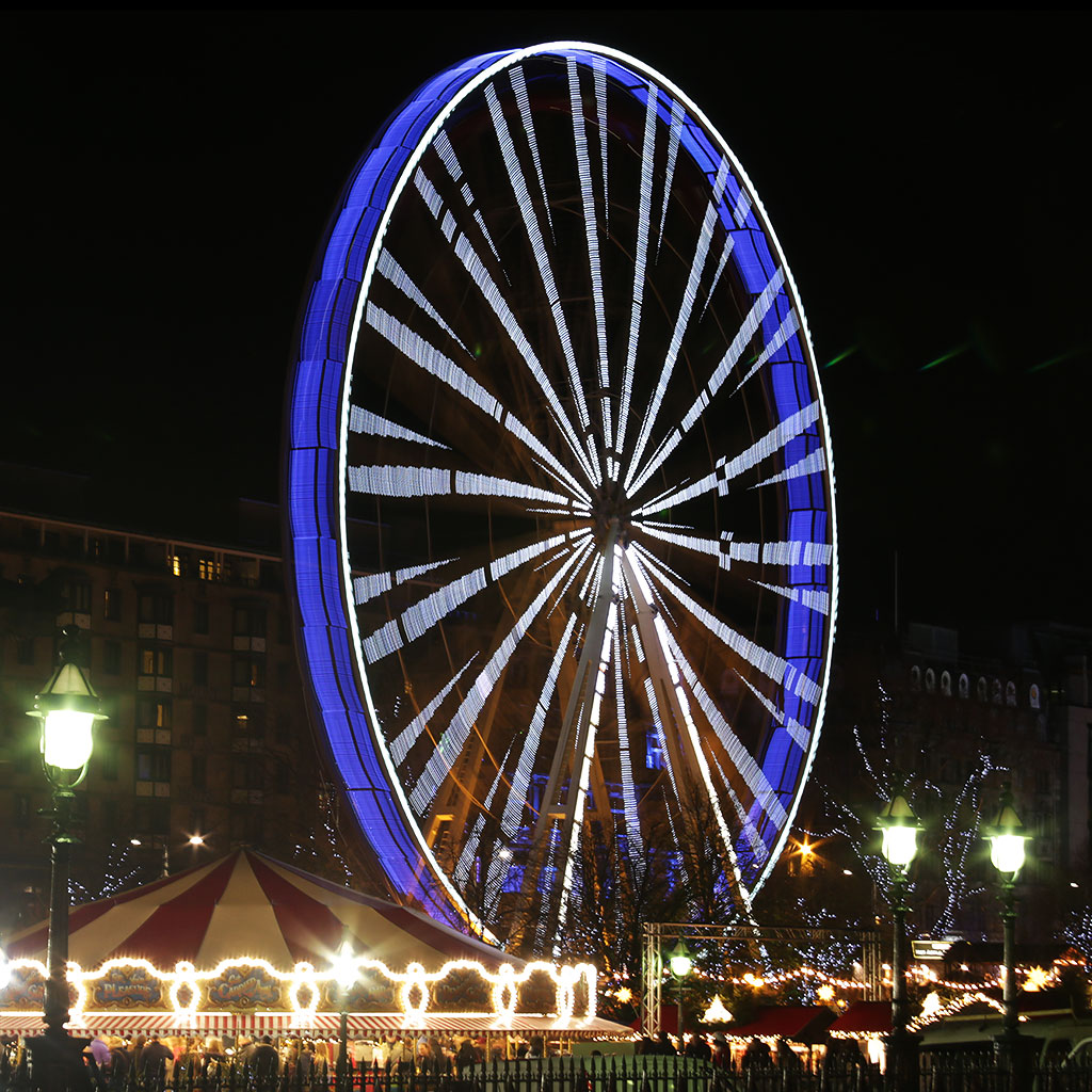The Edinburgh Wheel in East Princes Street Gardens  0-  Lit Blue and White to celebrate St Andrew's Day 2014