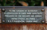 Inscription on a bench presented to Edinburgh by Officers and Airmen of United States Air Force, RAF Kirknewton, March 1962