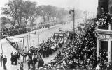 Edinburgh Social History Photographs  -  Suffragettes' March along Princes Street on 9 October 1909.